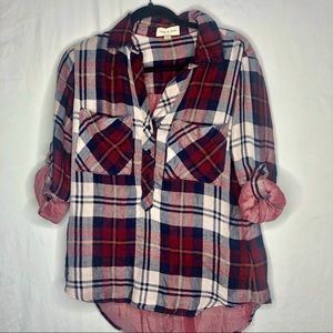 Oversized Maroon and gray plaid button down shirt.